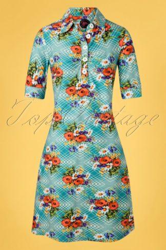 60s Kyra Poppy Dress in Blue