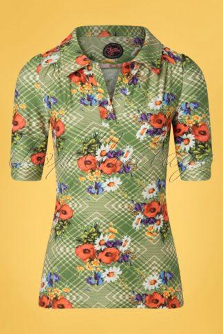 60s Kyra Poppy Shirt in Green