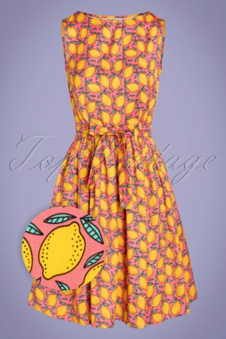 60s Lenna Lemon Swing Dress in Coral and Yellow