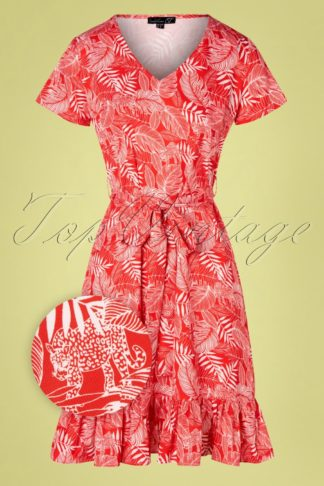 60s Leopard Jungle Dress in Red and White