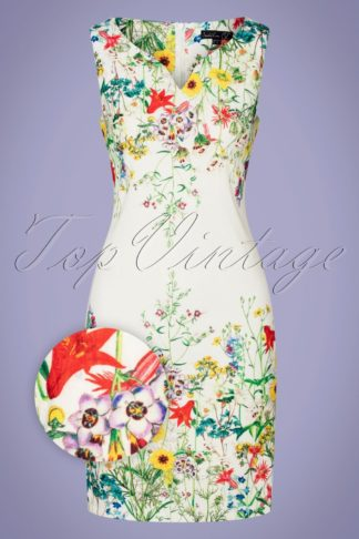 60s Melania Floral Pencil Dress in Ivory