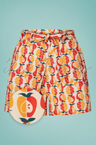 60s Oh La La Shorts in Fruit Salad Red and Orange