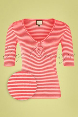 60s One Step Ahead Knit Top in Coral Stripes