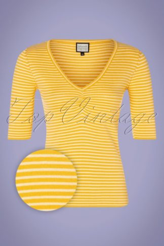 60s One Step Ahead Knit Top in Yellow Stripes