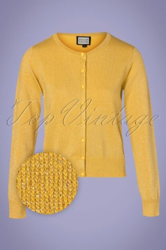 60s Some Cosiness Cardigan in Yellow Lurex