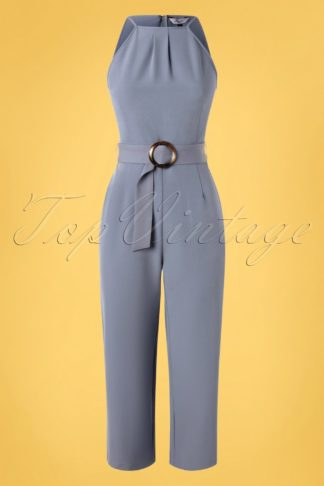 60s Sophie Culotte Jumpsuit in Sky Blue