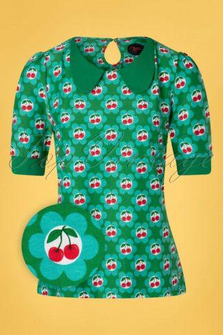 60s Sunday Cherry Shirt in Blossom Green