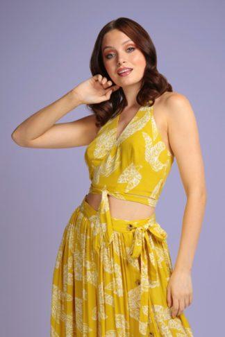 70s Alizee Golden Leaves Halter Top in Yellow