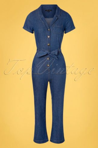 70s Gracie Chambray Jumpsuit in River Blue