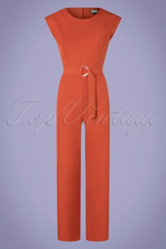 70s Heart Eyes Jumpsuit in Uni Rust Orange