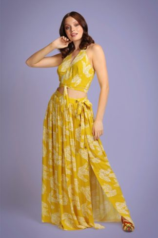 70s Kaira Golden Leaf Maxi Skirt in Yellow