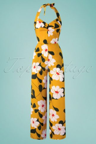 70s Mimi Floral Jumpsuit in Gold Yellow
