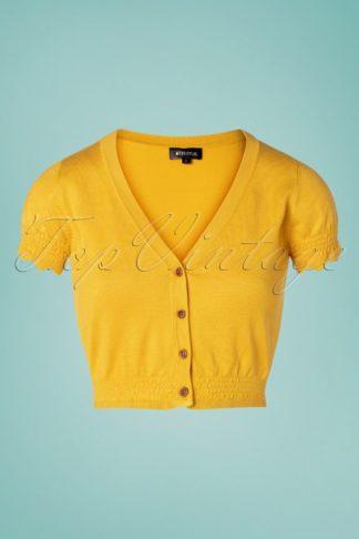 70s Nigela Cropped Cardigan in Mustard
