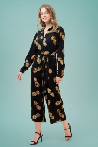 70s Sienna Pineapple Batik Wide Leg Jumpsuit in Black