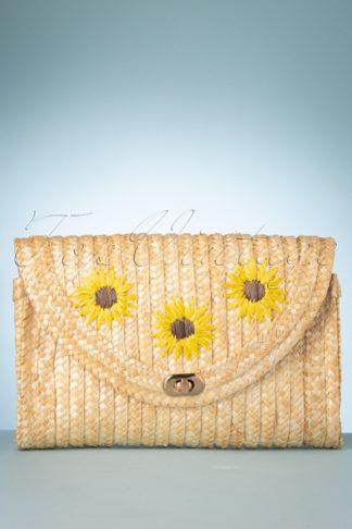 70s Sunflower Straw Handbag