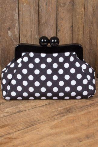 Banned Handtasche | Clutch Genevieve Polkadot, schwarz von Rockabilly Rules