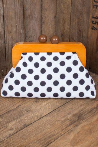 Banned Handtasche | Clutch Genevieve Polkadot, weiß von Rockabilly Rules