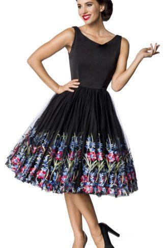 Belsira Premium Vintage Blumenkleid Mittellanges Kleid schwarz