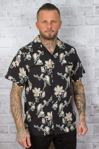 Chet Rock Hawaiihemd Skull and Flowers Shirt von Rockabilly Rules