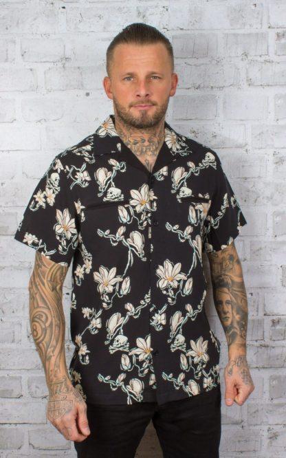 Chet Rock Hawaiihemd Skull and Flowers Shirt von Rockabilly Rules