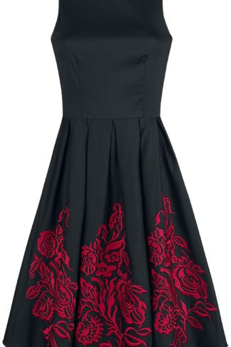 Dolly and Dotty Anna Adorable Embroidery Flower Mittellanges Kleid schwarz/rot