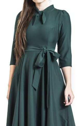 H&R London Charming Blush Swing Dress Mittellanges Kleid Petrol