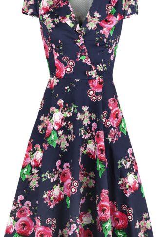 H&R London Midnight Garden Floral Tea Dress Mittellanges Kleid multicolor