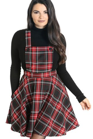 Hell Bunny Islay Pinafore Dress Mittellanges Kleid schwarz/rot