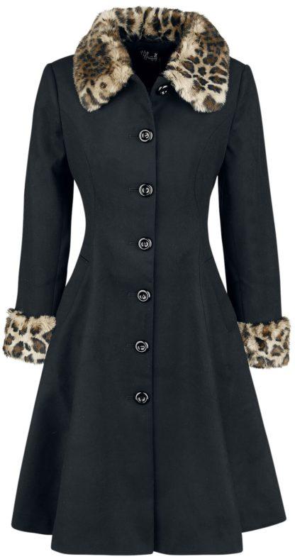 Hell Bunny Robinson Coat Mantel schwarz/leo