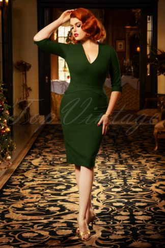 The Lauren Pencil Dress in Leaf Green