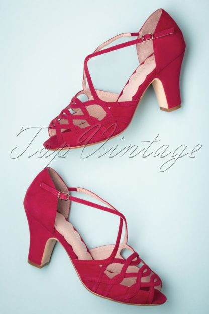 40s Adele Strappy Cross Over Sandals in Red