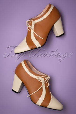 40s Amelia Shoe Booties in Cognac and Cream
