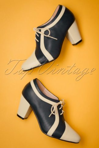 40s Amelia Shoe Booties in Navy and Cream