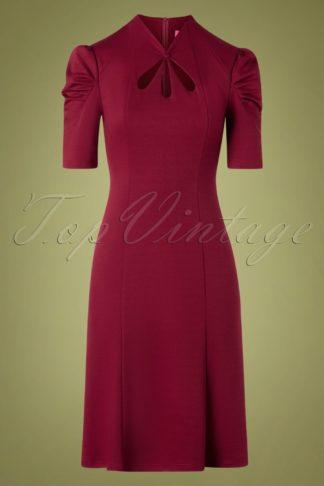 40s Jezebel Pencil Dress in Wine