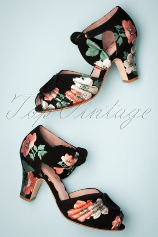 40s Loretta Suede Floral Pumps in Black