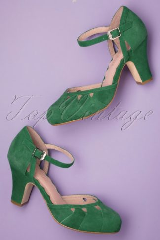 40s Lucie Cut Out Pumps in Kelly Green