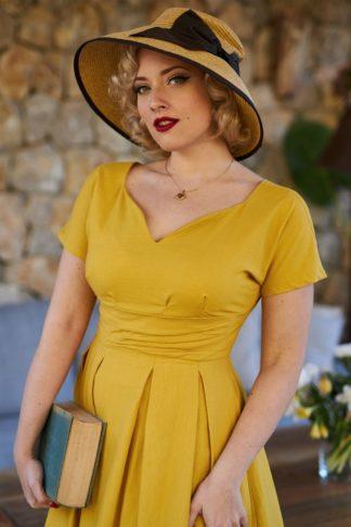 40s Svea Tuscany Swing Dress in Honey Yellow