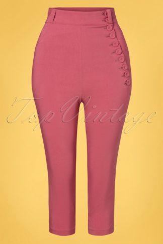 50s Arya Punch High Waist Capri Pants in Rose Pink