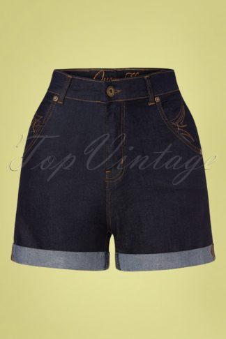 50s Ash Denim Shorts in Dark Blue