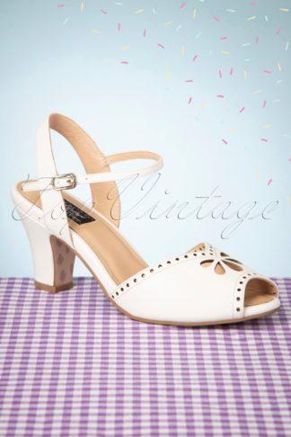 50s Ava Bellezza Classica Sandalettes in Off-White