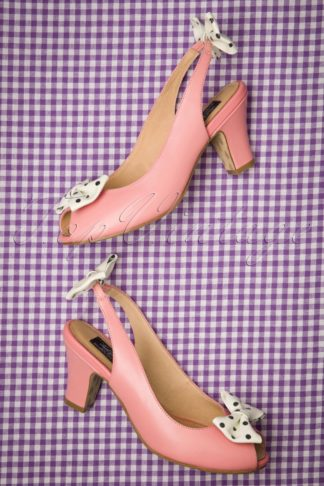 50s Ava Carina Bow Sandalettes in Pink