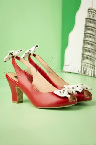50s Ava Carina Bow Sandalettes in Red