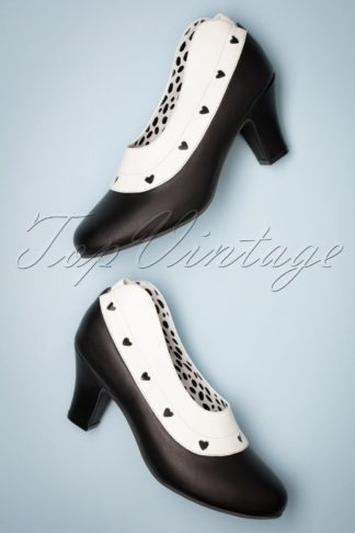 50s Ava Maid Pumps in Black and White