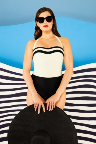 50s Beach Shaping Swimsuit in Black and Cream