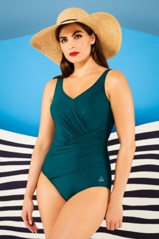50s Beach Shaping Swimsuit in Petrol Blue