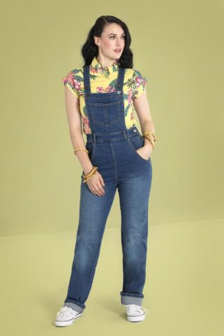 50s Betty Bee Dungarees in Denim Blue