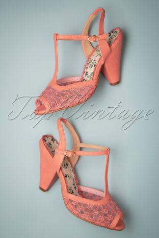 50s Brooklyn T-Strap Peeptoe Sandals in Peach