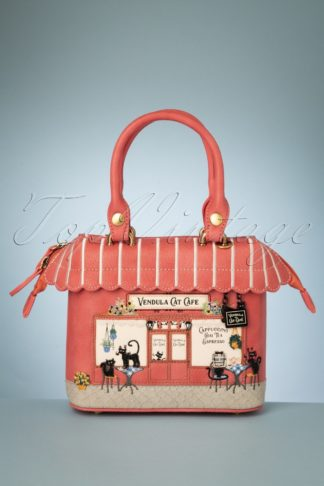 50s Cat Cafe Mini Grab Bag in Pink