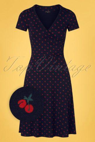 50s Cheri Cherry Dress in Navy