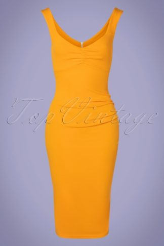 50s Cyara Pencil Dress in Gold Yellow